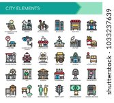 city elements   thin line and... | Shutterstock .eps vector #1033237639
