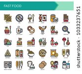fast food elements   thin line... | Shutterstock .eps vector #1033237651