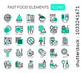 fast food elements   thin line... | Shutterstock .eps vector #1033241671