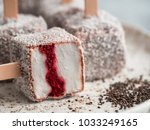 homemade raw lamington ice... | Shutterstock . vector #1033249165