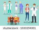 cartoon doctor with patient in... | Shutterstock .eps vector #1033254301