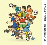 soccer player team composition  ... | Shutterstock .eps vector #1033254421