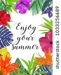 floral card with frame for text ... | Shutterstock .eps vector #1033256689