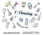 illustration of i love cleaning ... | Shutterstock . vector #1033257751