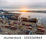 commercial cargo vessel... | Shutterstock . vector #1033260865