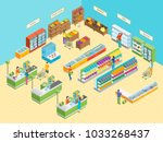 supermarket or shop interior... | Shutterstock .eps vector #1033268437
