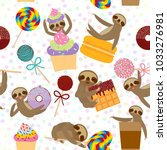 seamless pattern funny and cute ... | Shutterstock .eps vector #1033276981