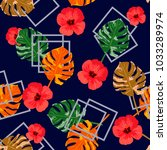 vintage seamless pattern with... | Shutterstock .eps vector #1033289974