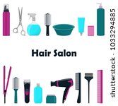tools and cosmetic products for ...   Shutterstock .eps vector #1033294885