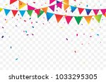 colorful party flags with... | Shutterstock .eps vector #1033295305
