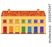 cute vector yellow house with... | Shutterstock .eps vector #1033295347