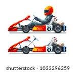 go kart racer side view. pixel... | Shutterstock .eps vector #1033296259