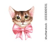 Cat With Pink Bow. Watercolor...