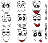 cartoon mouth eyes face emotion ... | Shutterstock .eps vector #1033302634