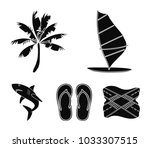 board with a sail  a palm tree...   Shutterstock .eps vector #1033307515