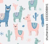 childish seamless pattern with... | Shutterstock .eps vector #1033308841