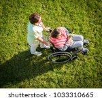 elderly woman in wheelchair top ... | Shutterstock . vector #1033310665