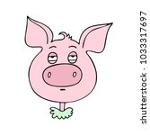 the cute pig has an expression... | Shutterstock .eps vector #1033317697