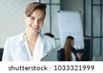business woman with her staff ... | Shutterstock . vector #1033321999
