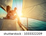 romantic couple in love on sail ... | Shutterstock . vector #1033322209
