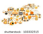 illustration of education icon forming cloud shape - stock vector