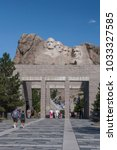 Small photo of Mount Rushmore, United States – July 5, 2009: The viewing terrace for the Presidential sculpture at Mount Rushmore National Monument, South Dakota.