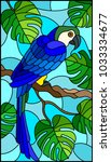 illustration in stained glass... | Shutterstock .eps vector #1033334677