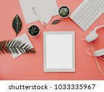 blogger or freelancer workspace ... | Shutterstock . vector #1033335967
