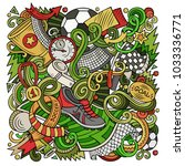 cartoon vector doodles football ... | Shutterstock .eps vector #1033336771