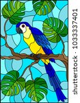 illustration in stained glass... | Shutterstock .eps vector #1033337401