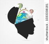 mind of traveler. creative... | Shutterstock .eps vector #1033338181