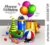 happy birthday greeting card.... | Shutterstock .eps vector #1033338739