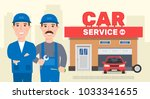 car service workers auto repair ...   Shutterstock .eps vector #1033341655