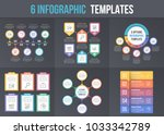 6 infographic templates on dark ... | Shutterstock .eps vector #1033342789