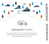 outdoor biking  trail map with...   Shutterstock .eps vector #1033345879