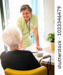 elderly woman needs care of... | Shutterstock . vector #1033346479