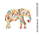 elephant ornate  sketch for... | Shutterstock .eps vector #1033350139