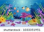 marine habitats and the beauty... | Shutterstock .eps vector #1033351951