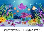 marine habitats and the beauty... | Shutterstock .eps vector #1033351954