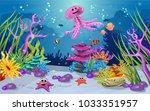 marine habitats and the beauty... | Shutterstock .eps vector #1033351957