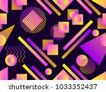 memphis seamless pattern.... | Shutterstock .eps vector #1033352437