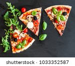 slice of  italian classic pizza ... | Shutterstock . vector #1033352587