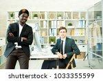 multi ethnic team of white... | Shutterstock . vector #1033355599