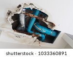 damage home ceiling in restroom ... | Shutterstock . vector #1033360891