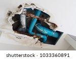 damage home ceiling in restroom ... | Shutterstock . vector #1033360891