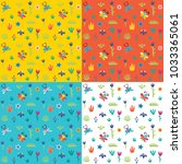 set of seamless patterns in a... | Shutterstock .eps vector #1033365061