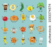 funny  food characters with... | Shutterstock .eps vector #1033374574