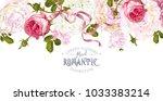 vector vintage floral border... | Shutterstock .eps vector #1033383214