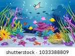 marine habitats and the beauty... | Shutterstock .eps vector #1033388809