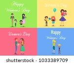 concept of happy womens day on... | Shutterstock .eps vector #1033389709